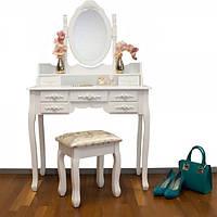 Туалетный столик Элис белый с зеркалом, фото 1