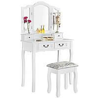 Туалетный столик Эмма белый с зеркалом