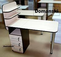 Маникюрный стол с ящиками и полками для лаков. Замки на всех ящиках. Цвет - дуб молочный + венге.