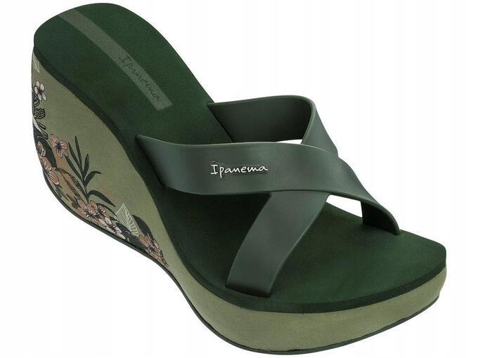 Оригинал Вьетнамки Женские на платформе 82534-20770 Ipanema Lipstick Straps V woman slipper green/green