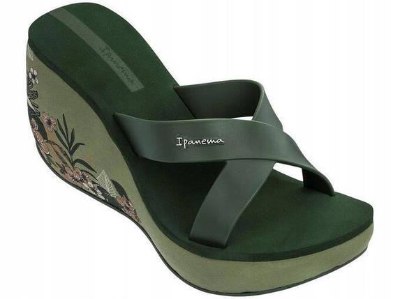 Оригинал Вьетнамки Женские на платформе 82534-20770 Ipanema Lipstick Straps V woman slipper green/green, фото 2