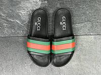 Мужские шлепанцы в стиле Gucci, черные 41 (26,2 см)