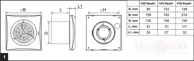 Габаритные размеры энергоэффективных вентиляторов для ванной комнаты, санузла и туалета Вентс Квайт 100, которые представлены для продажи по низкой цене и с бесплатной доставкой по Киеву и Украине в интернет-магазине вентиляции ventsmart.com.ua