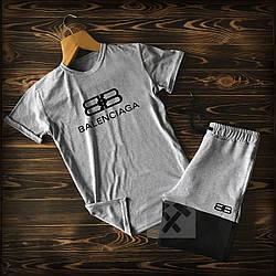Мужской комплект футболка + шорты Balenciaga серого цвета (люкс копия)