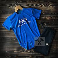 Мужской летний комплект футболка и шорты Баленсиага (Balenciaga), футболки и шорты Турейкий трикотаж, копия