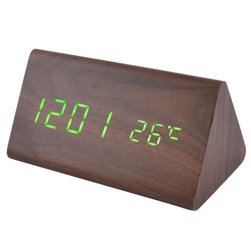Электронные настольные часы VST 861-4 с USB, коричневый цвет с текстурой дерева ( код: IBW194 )