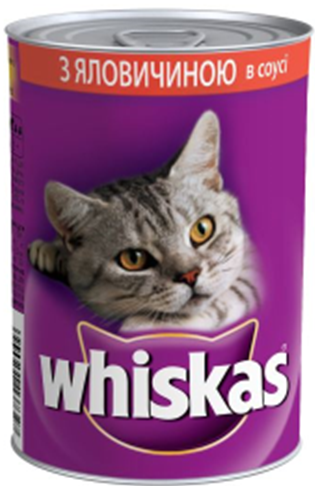 Whiskas залізна банка 400 гр з яловичиною в соусі х 24 шт в упаковці