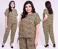 Летний брючный костюм Жасмин большого размера 54-62 размера леопард, фото 1
