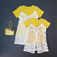 Комплект на девочку футболка с гипюровой накидкой желтый цвет, фото 1