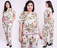 Летний брючный костюм Жасмин большого размера 54-62 размера мятный, фото 1