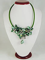 Колье из перламутра,зеленое , фото 1