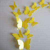 """Наклейка на стену """"12 шт. 3D бабочки наклейки"""" желтые"""