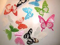 """Наклейка на стену, украшения наклейки """"12 шт. 3D бабочки наклейки"""" разноцветные с блестками"""