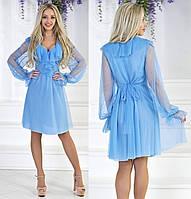 Платье из  французской сетки  с рюшами голубое
