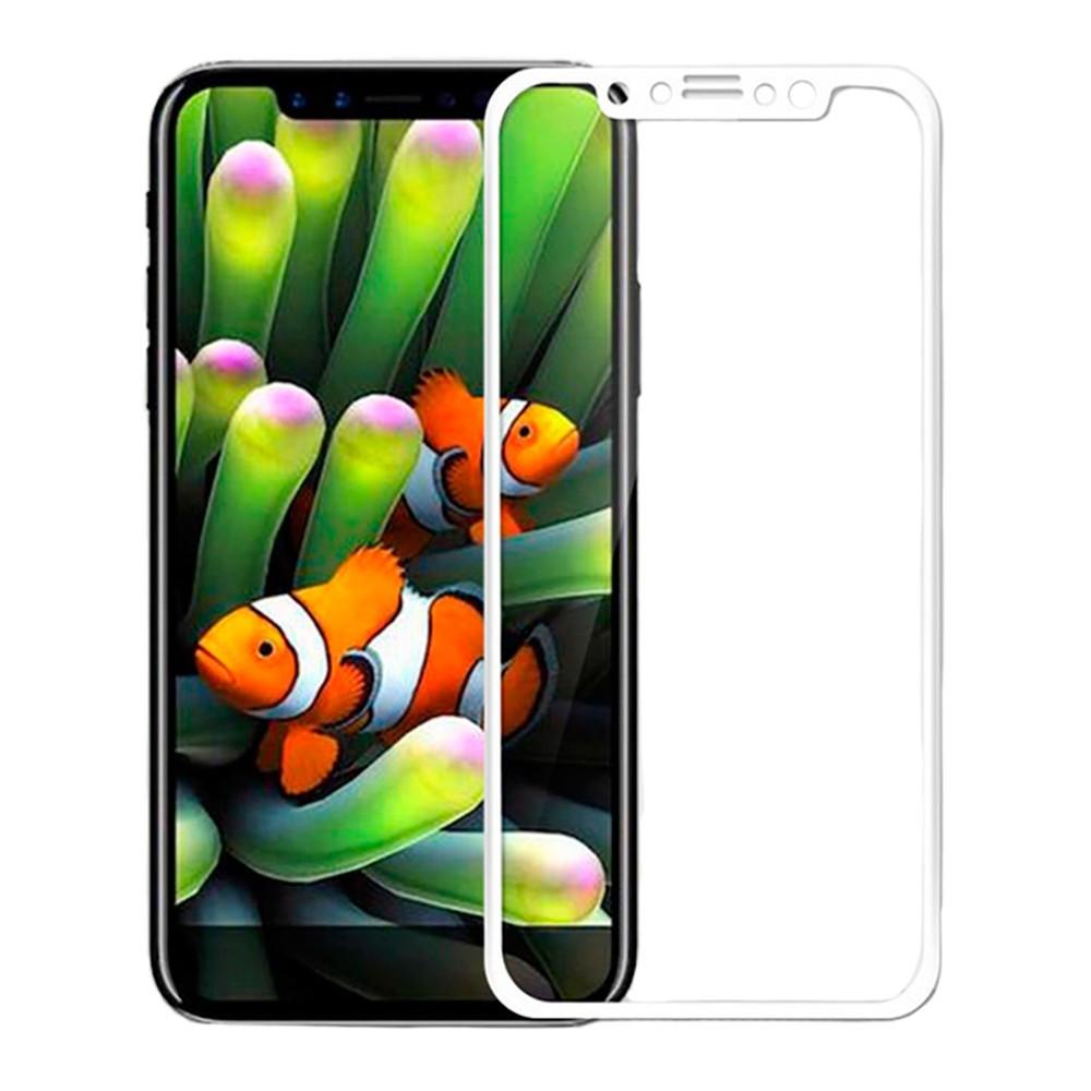 Защитное стекло iPhone X  Белое 5D Lenyes (FullCaver)