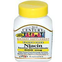 Ниацин (витамин В3) без прилива жара  400 мг 110 капс для разжижения крови улучшения кровообращения 21 век USA