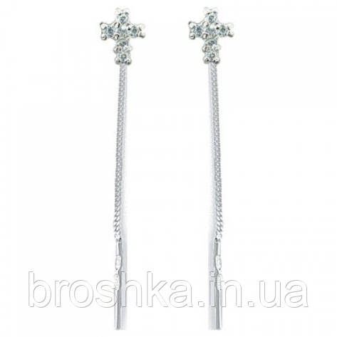 Серебряные серьги протяжки с крестиком, фото 2