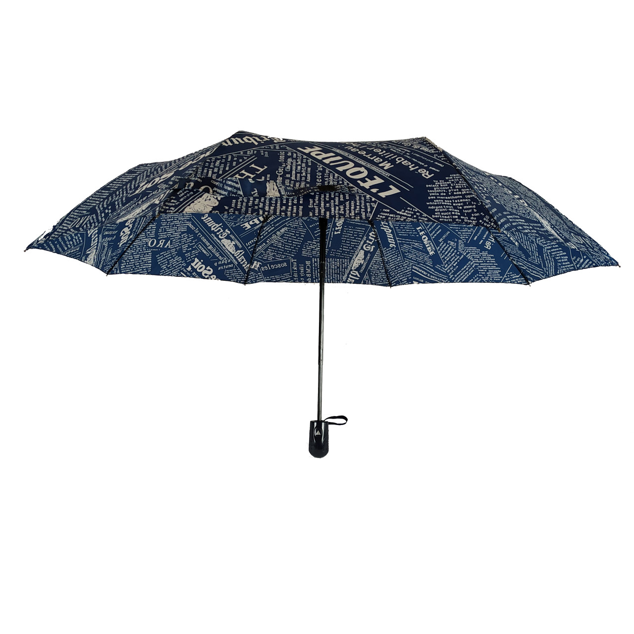 """Женский зонт полуавтомат Max на 8 спиц """"News"""" с газетным принтом, синий, 2008-4"""