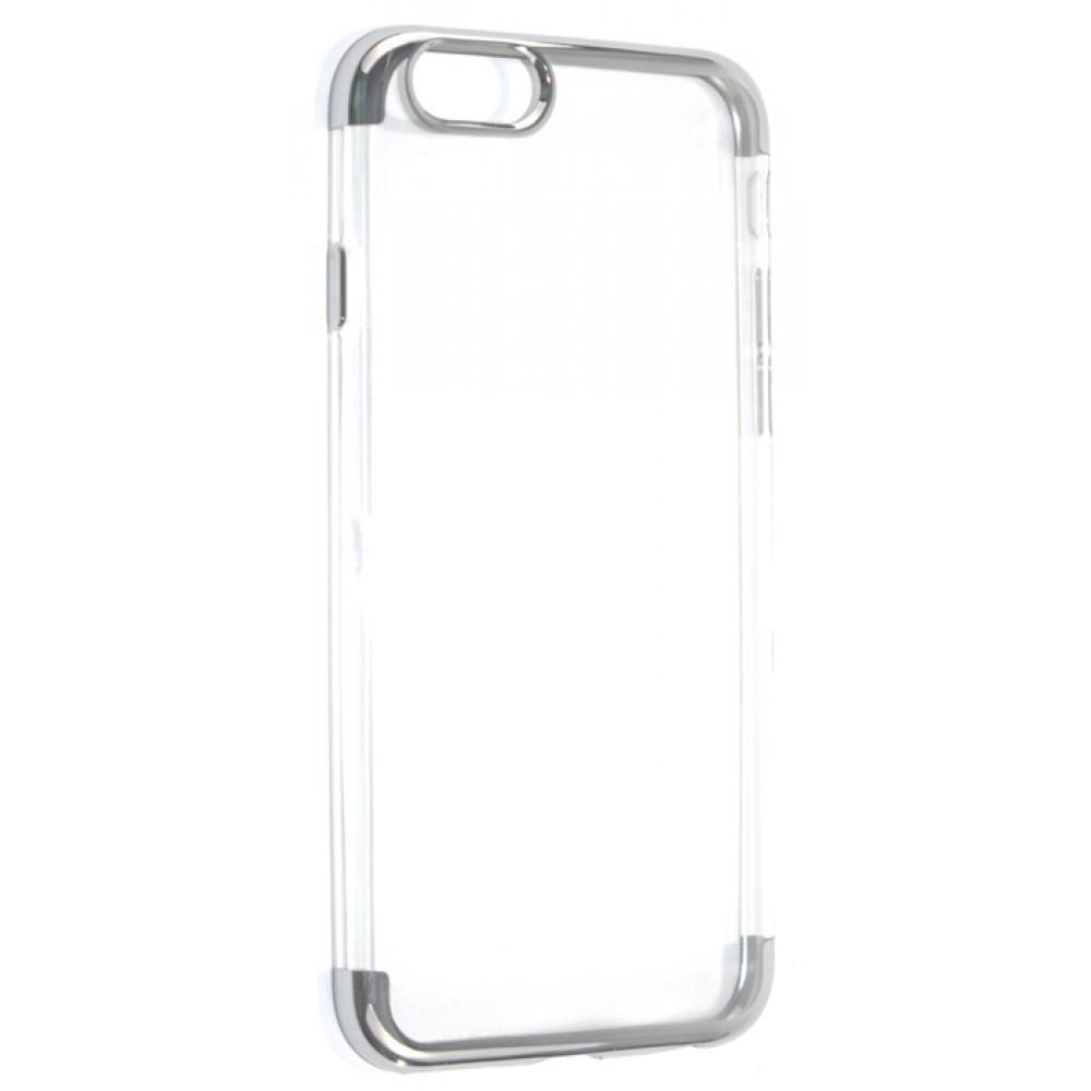 34863b17287d5 Чехол накладка Bezel Transparent для Apple iPhone 6/6S Прозрачный  Серебрянный