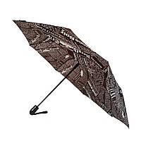 """Женский зонт полуавтомат Max на 8 спиц """"News"""" с газетным принтом, коричневый, 2008-3, фото 1"""