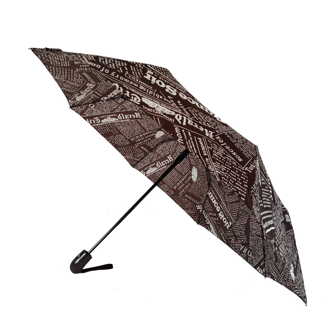 """Женский зонт полуавтомат Max на 8 спиц """"News"""" с газетным принтом, коричневый, 2008-3"""