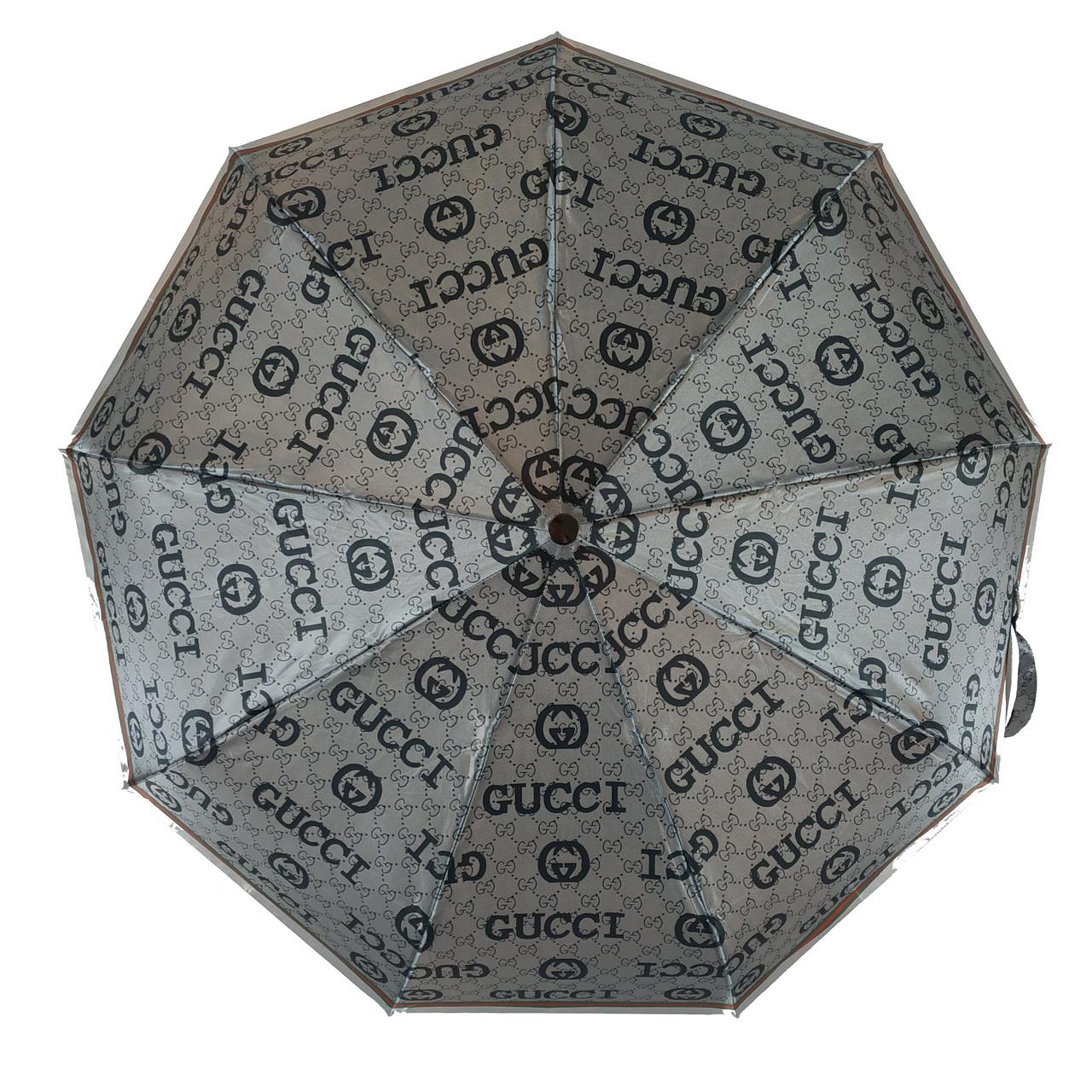 Женский зонт автомат Zita, с изображением логотипов модных брендов, серый, 6020-3