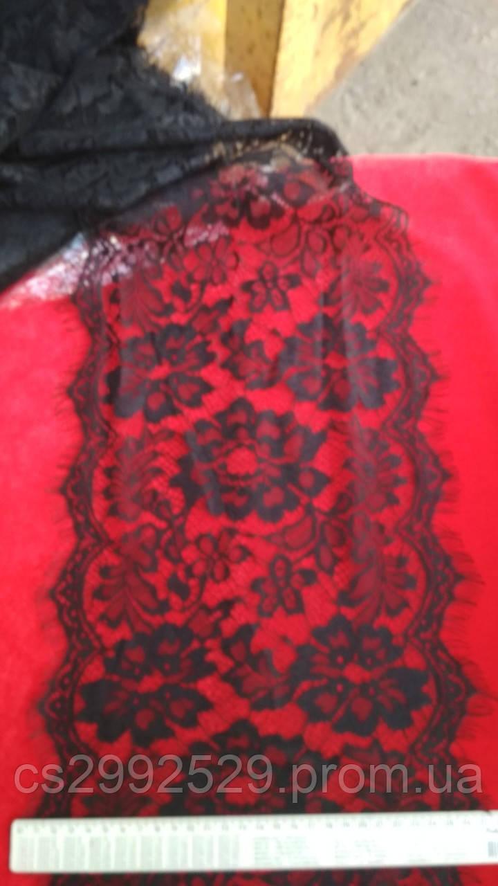 Кружево ажурное розы. Кружево франция ажурное шантильи с ресничками 30 метров, чёрный