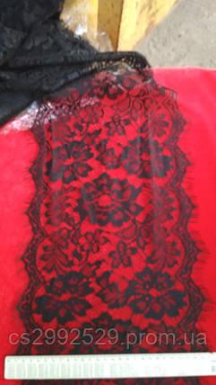 Кружево ажурное розы. Кружево франция ажурное шантильи с ресничками 30 метров, чёрный, фото 2