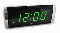 Часы VST 730 Green, Часы с будильником, Светодиодные настольные часы, Цифровые часы, Сетевые часы,
