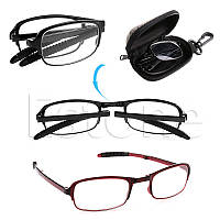 Очки для чтения черные,пластик,дужки гнутся,диоптрии +1 +1.5 +2.0 +2.5 +3.0 +3.5 +4.0