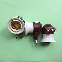 Переходник электровилка 220 В на цоколь лампы Е27 с выключателем