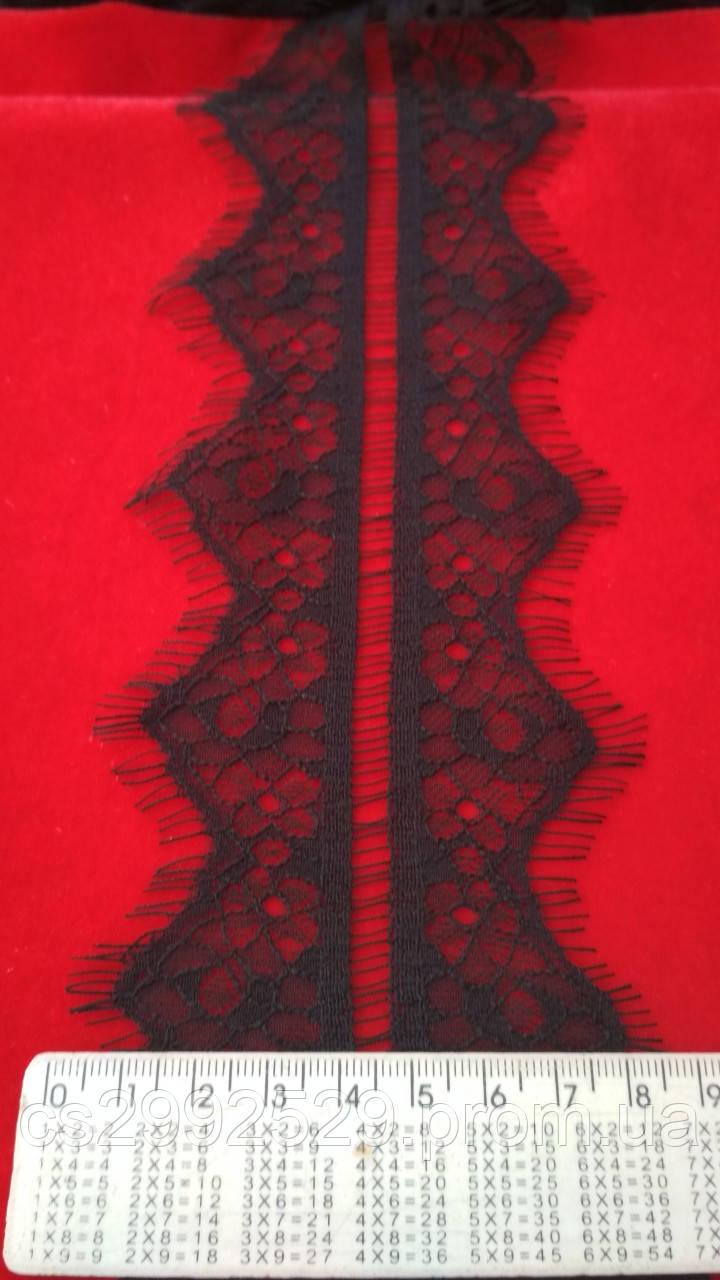 Кружево ажурное делимое 60 метров, чёрный. Кружево шантильи Французское с ресничками делимое