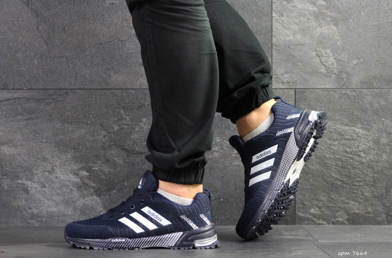 721c39eca Мужские кроссовки в стиле Adidas Marathon, сетка, пена, синие с белым -  Sport