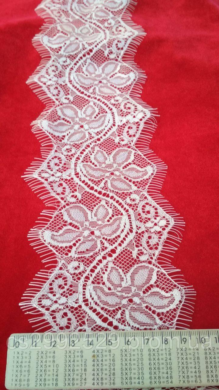 Кружево ажурное айвори с ресничками шантильи 30 метров