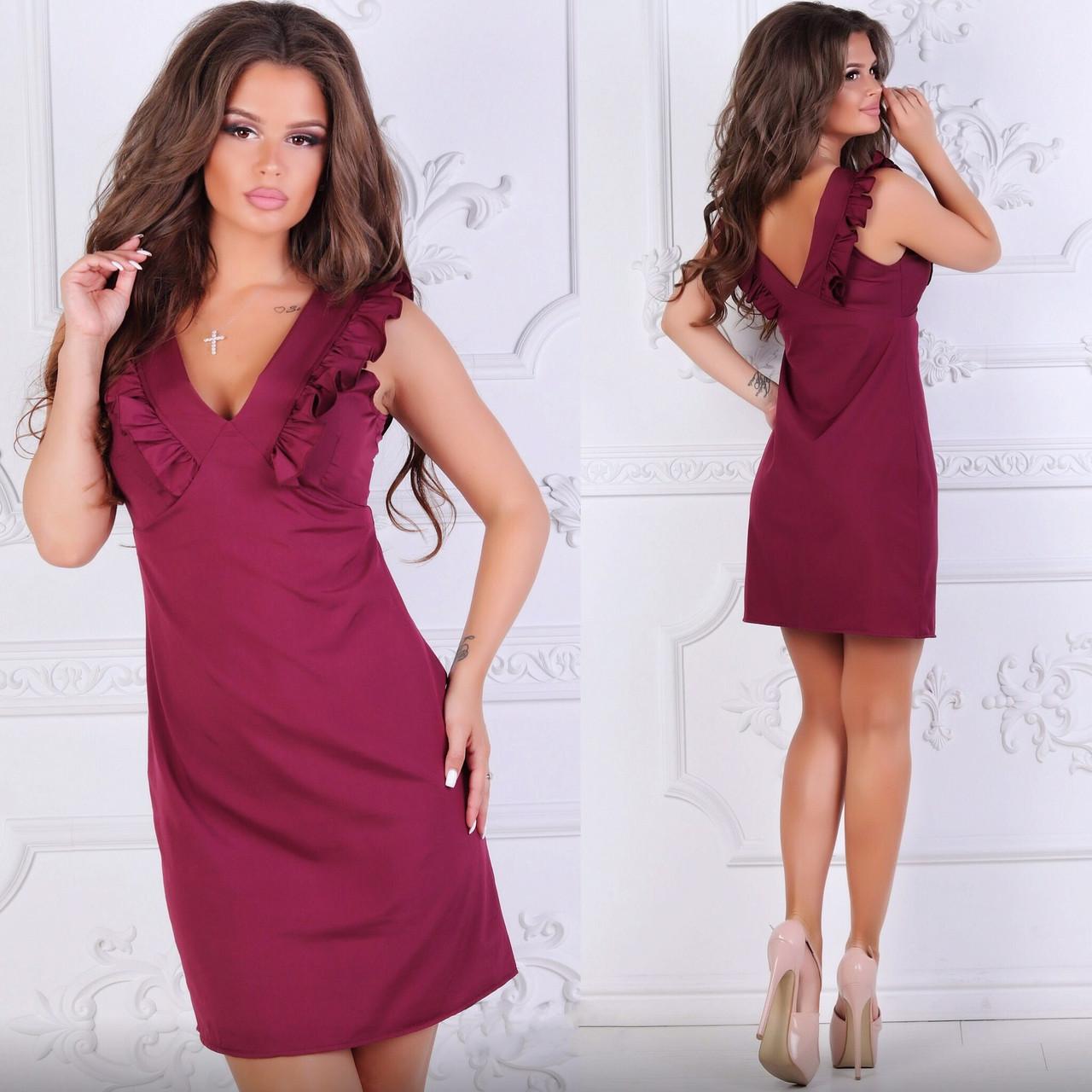 Летнее платье с оборками, бордовый