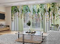 """Фото шторы и тюль """"3D Ламбрекены из орхидей и цветов 1"""" (шторы 2,5м*2,9м, тюль 2,5м*3,0м)"""