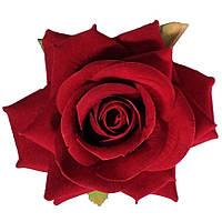 Головка розы раскрытая бархатная алая.  10см