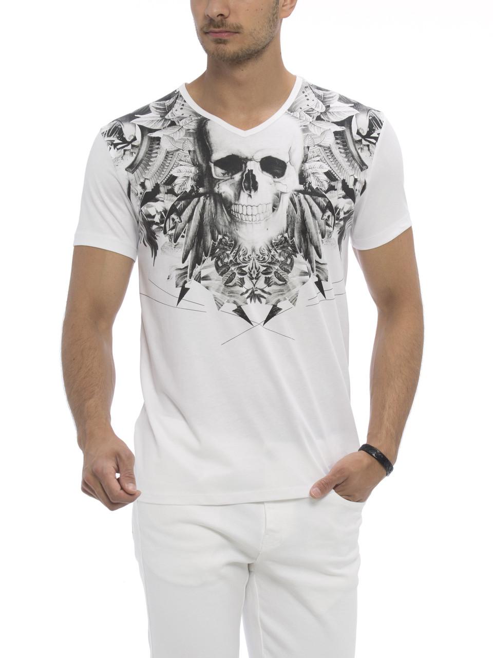 Белая мужская футболка Lc Waikiki / Лс Вайкики с черепом на груди