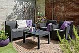 Комплект садових меблів зі штучного ротангу ORLANDO LOUNGE SET графіт ( Allibert ), фото 6