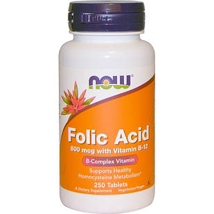 NOW Foods Folic Acid Фолиевая кислота (витамин B-9) 800 мкг + B12 (25 мкг)  250 капс США