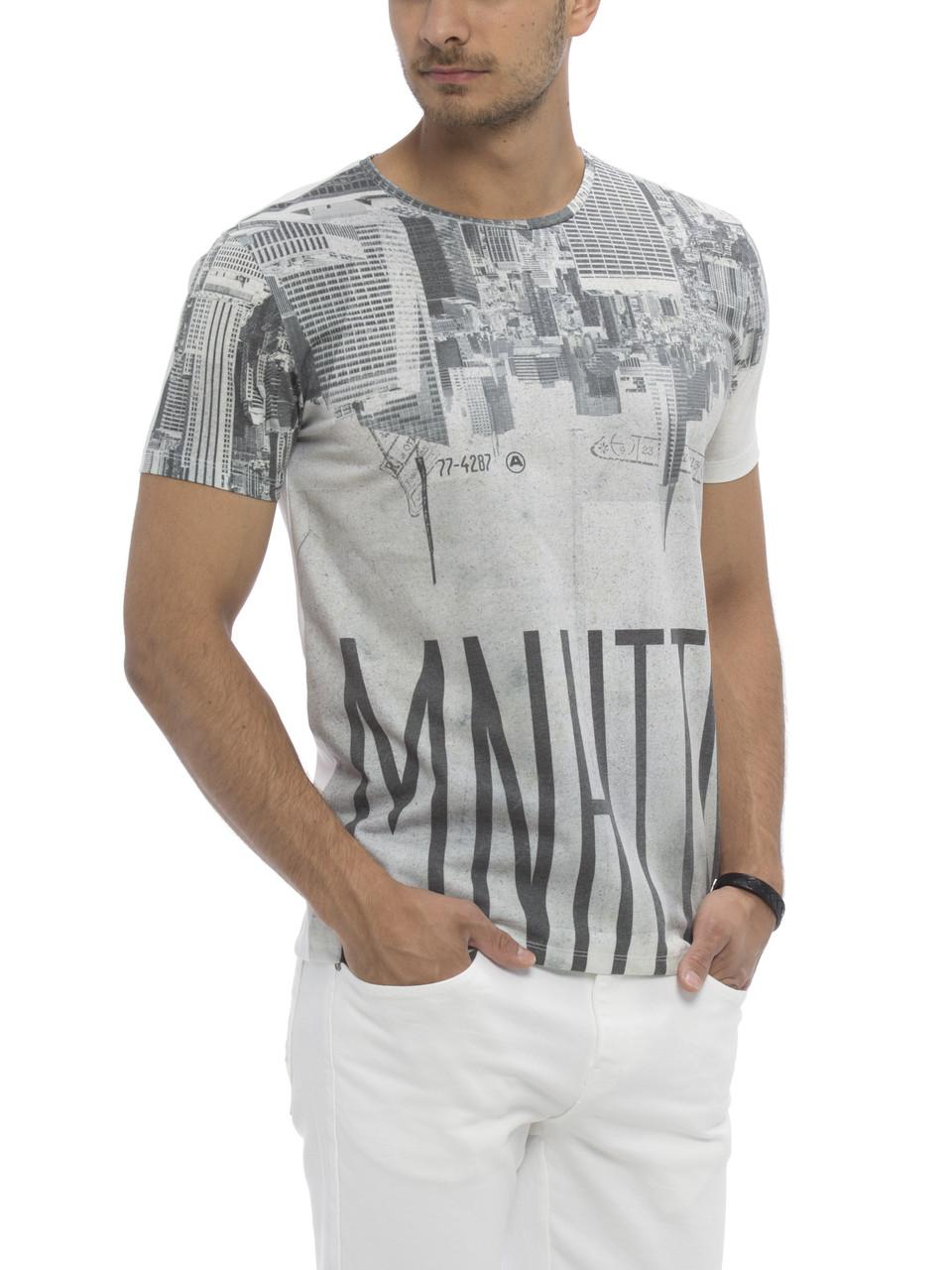 Белая мужская футболка Lc Waikiki / Лс Вайкики с надписью Manhattan