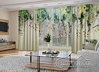 """Фото шторы и тюль """"3D Ламбрекены из орхидей и цветов"""" (шторы 2,5м*2,9м, тюль 2,5м*3,0м)"""