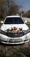 Украшение марсала на свадебное авто, фото 1