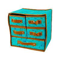 🔝 Органайзер для хранения белья, ящик органайзер, тканевый, для одежды, цвет - голубой   🎁%🚚
