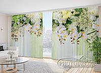 """Фото Шторы в зал """"3D Ламбрекены из орхидей и цветов 1"""" 2,7м*2,9м (2 полотна по 1,45м), тесьма"""