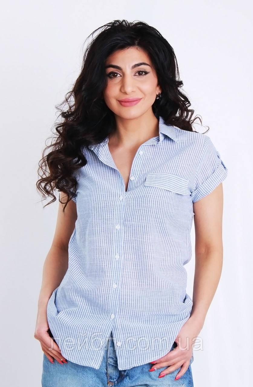 Блуза з коротким рукавом в смужку, колір-блакитний. Туреччина. розм.42, 44, 46