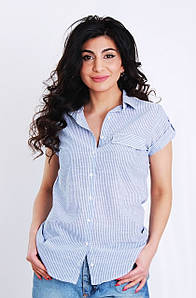 Блуза с коротким рукавом в полоску, цвет-голубой. Турция. разм.42, 44, 46