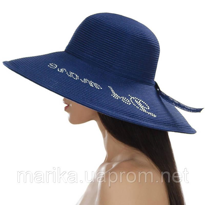 Шляпа пляжная с надписью из стразов