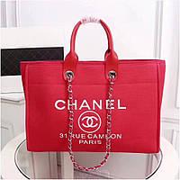 Сумка женская шоппер, пляжная, ярко красная