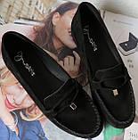 Nona! Супер! Мягкие женские мокасины черного цвета замшевые туфли весна лето Нона, фото 5
